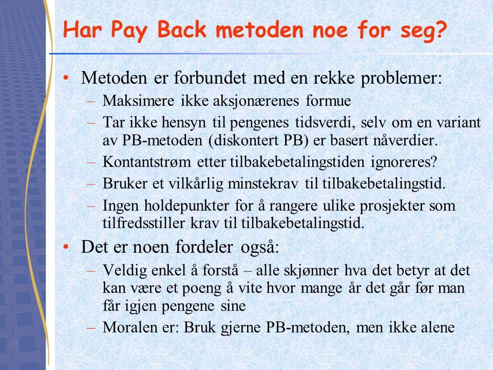 Har Pay Back metoden noe for seg