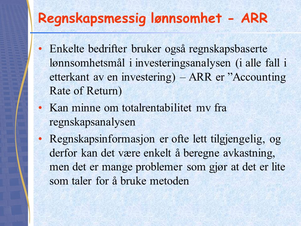 Regnskapsmessig lønnsomhet - ARR