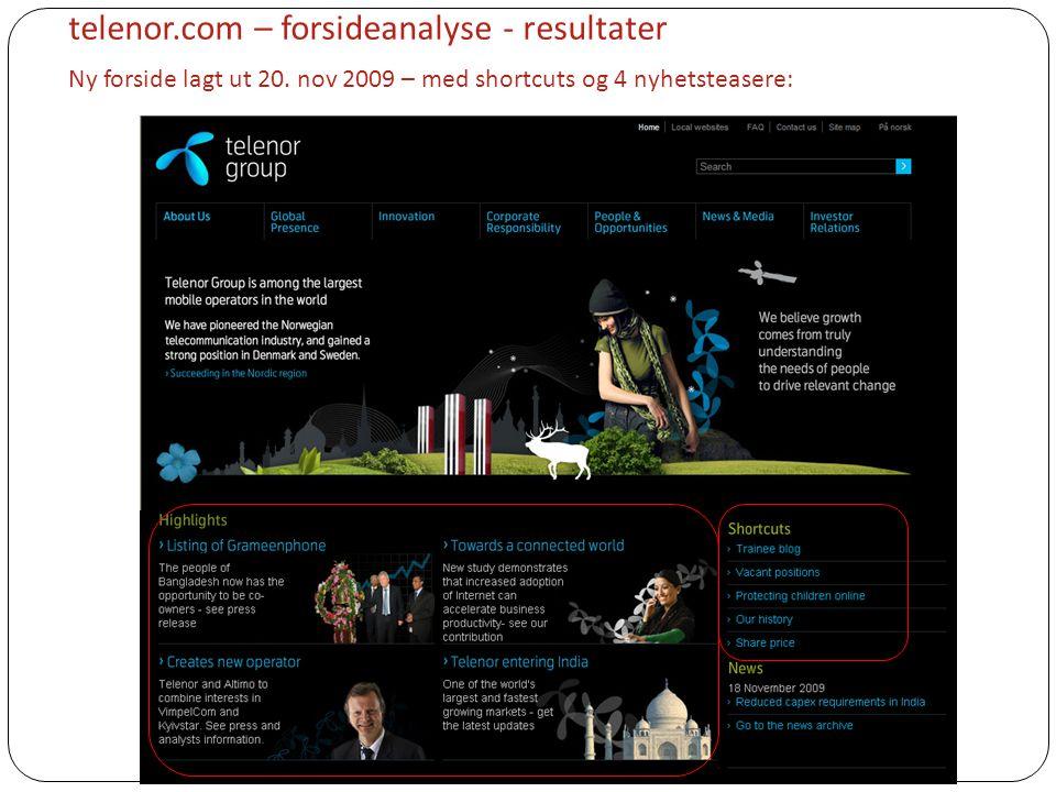 telenor. com – forsideanalyse - resultater Ny forside lagt ut 20