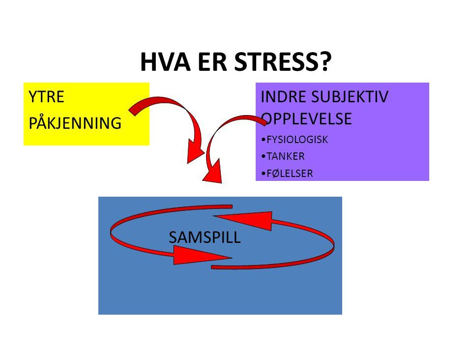 HVA ER STRESS YTRE PÅKJENNING INDRE SUBJEKTIV OPPLEVELSE SAMSPILL