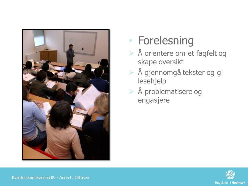 Forelesning Å orientere om et fagfelt og skape oversikt