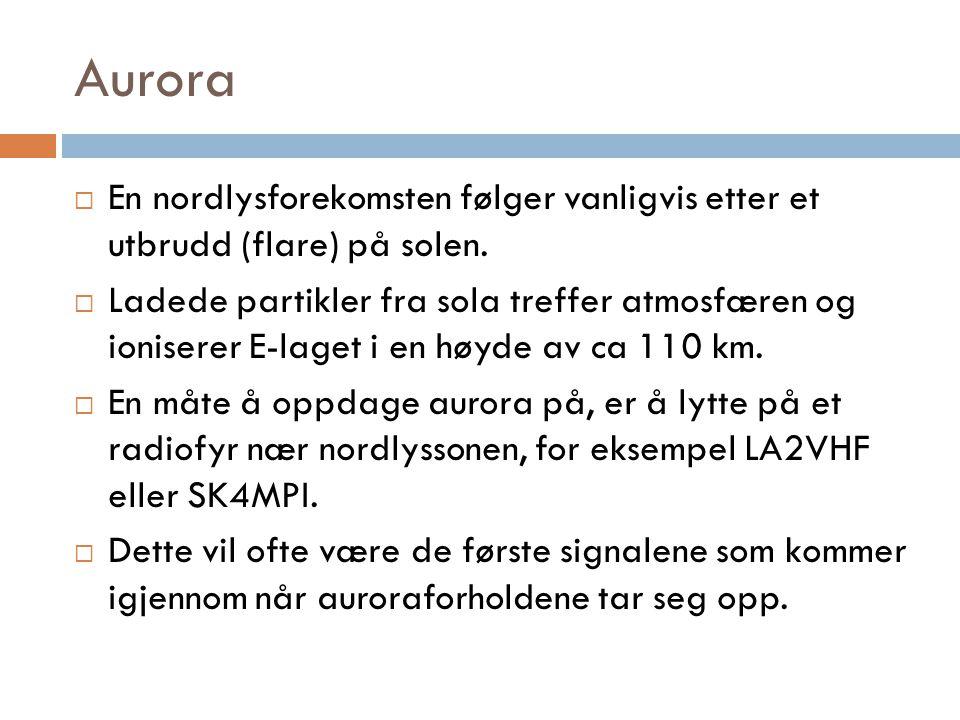 Aurora En nordlysforekomsten følger vanligvis etter et utbrudd (flare) på solen.