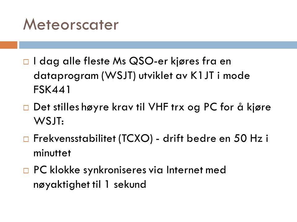 Meteorscater I dag alle fleste Ms QSO-er kjøres fra en dataprogram (WSJT) utviklet av K1JT i mode FSK441.