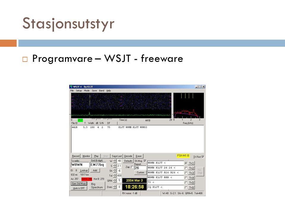 Stasjonsutstyr Programvare – WSJT - freeware