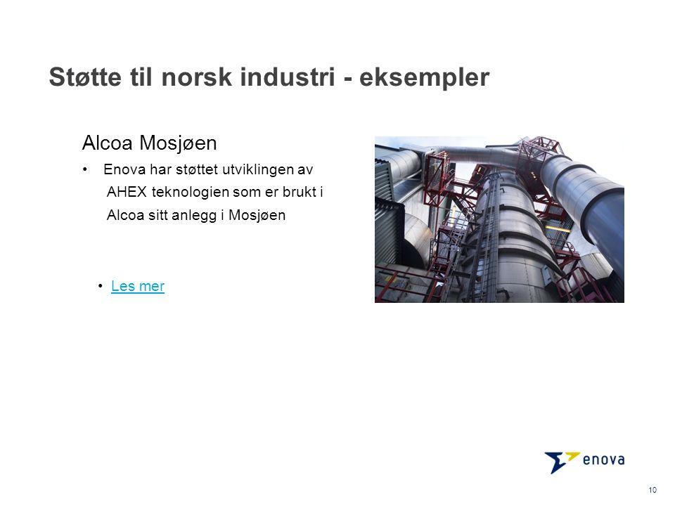 Støtte til norsk industri - eksempler