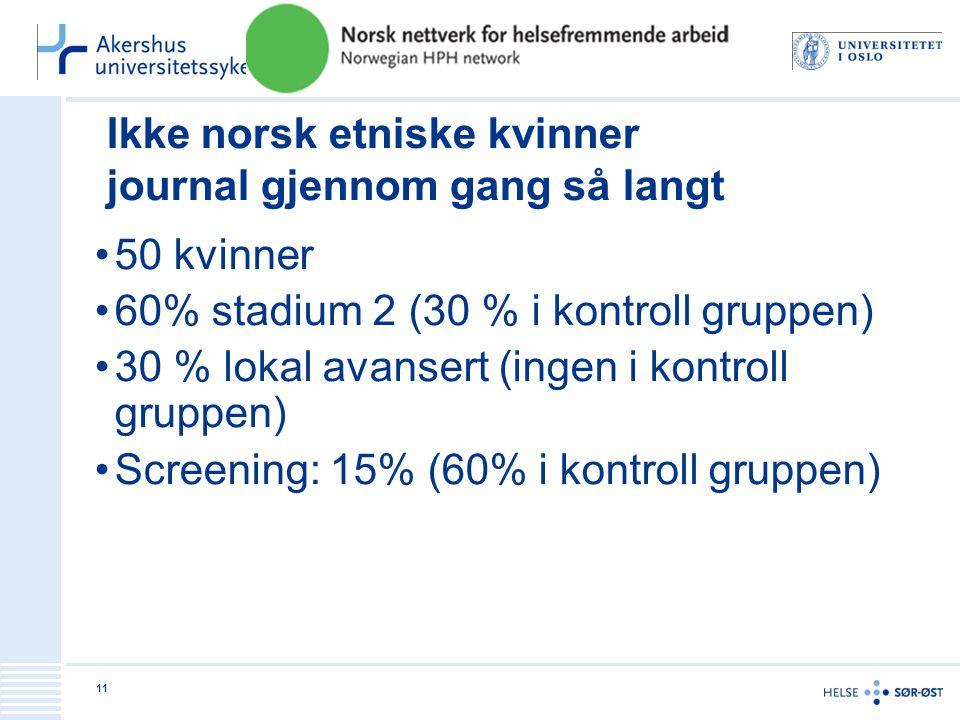 Ikke norsk etniske kvinner journal gjennom gang så langt