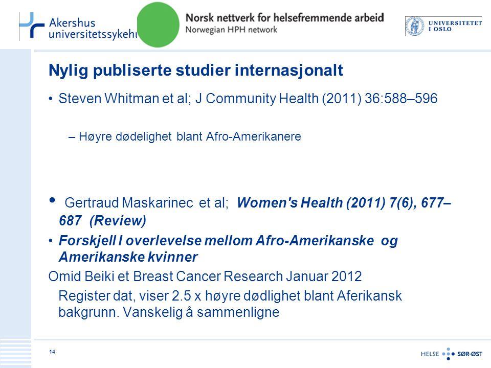 Nylig publiserte studier internasjonalt