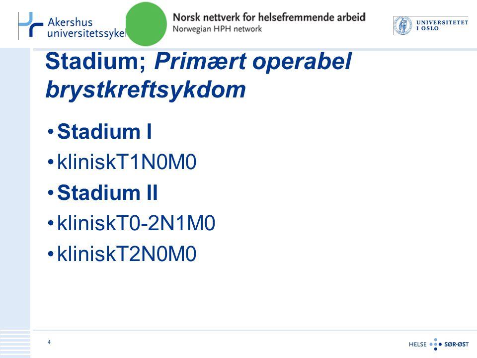 Stadium; Primært operabel brystkreftsykdom