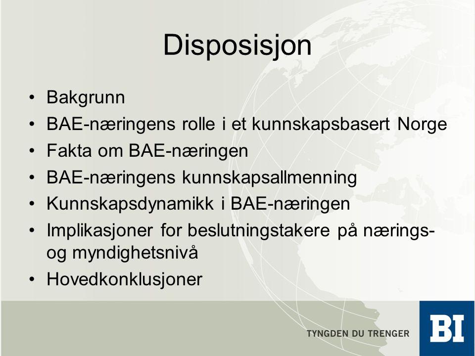 Disposisjon Bakgrunn BAE-næringens rolle i et kunnskapsbasert Norge
