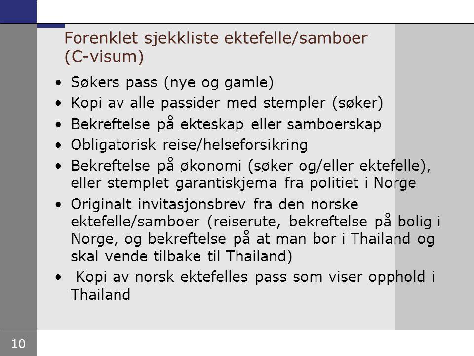 Forenklet sjekkliste ektefelle/samboer (C-visum)