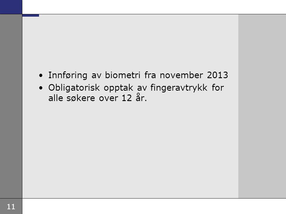 Innføring av biometri fra november 2013