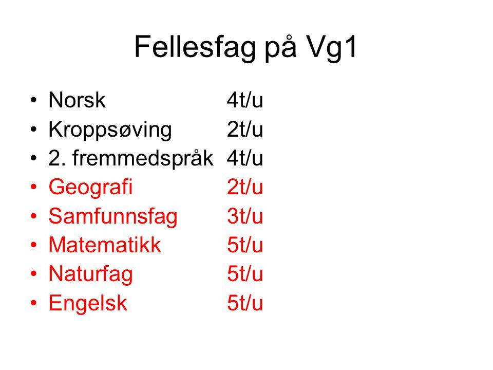 Fellesfag på Vg1 Norsk 4t/u Kroppsøving 2t/u 2. fremmedspråk 4t/u