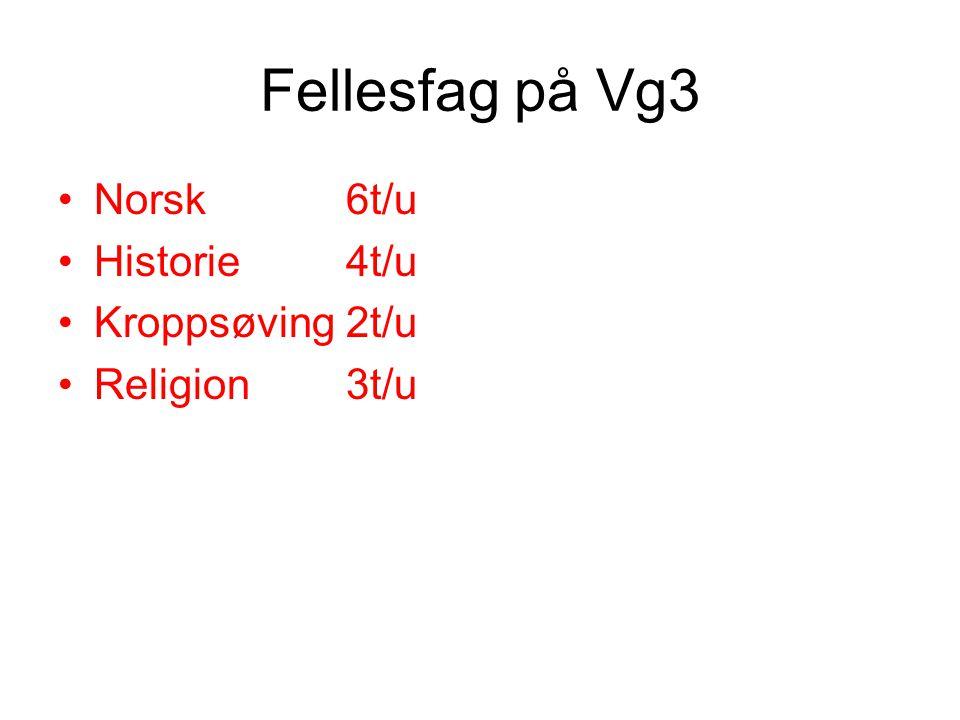 Fellesfag på Vg3 Norsk 6t/u Historie 4t/u Kroppsøving 2t/u