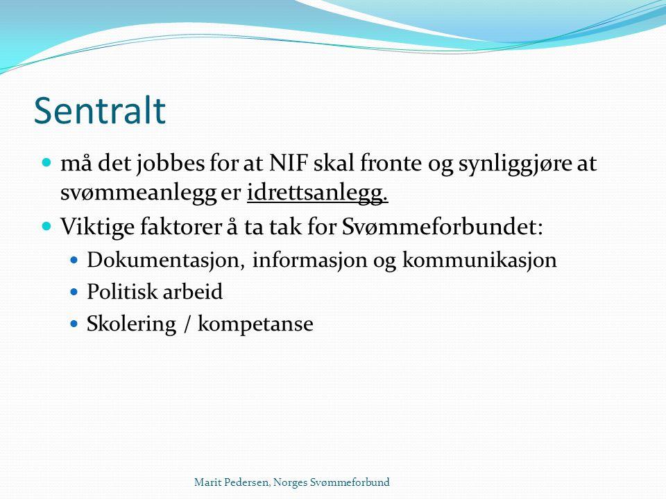 Sentralt må det jobbes for at NIF skal fronte og synliggjøre at svømmeanlegg er idrettsanlegg. Viktige faktorer å ta tak for Svømmeforbundet: