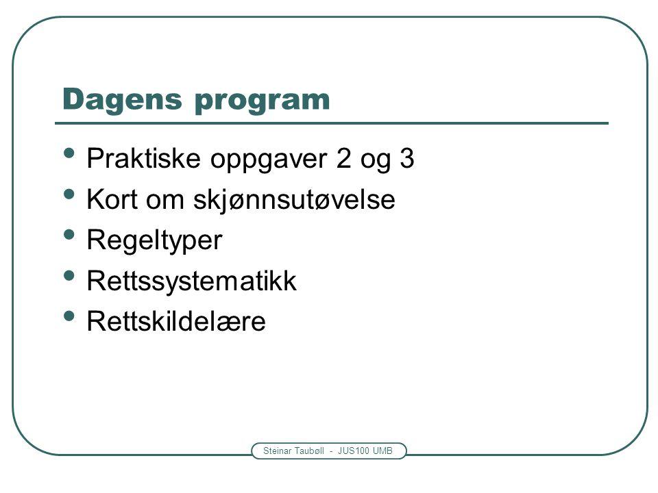 Dagens program Praktiske oppgaver 2 og 3 Kort om skjønnsutøvelse