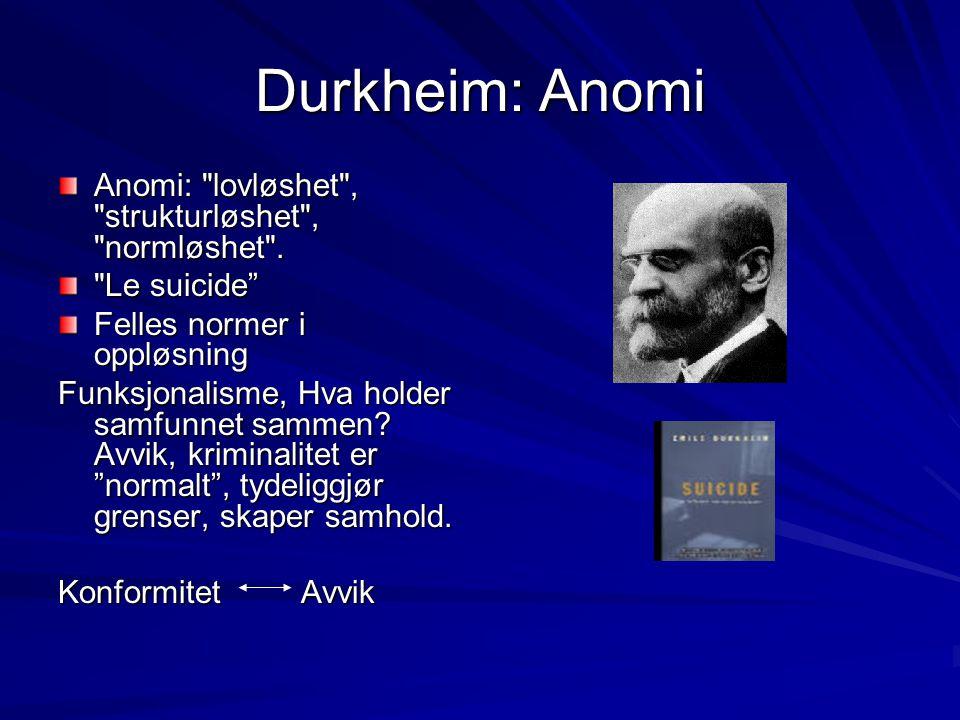 Durkheim: Anomi Anomi: lovløshet , strukturløshet , normløshet .