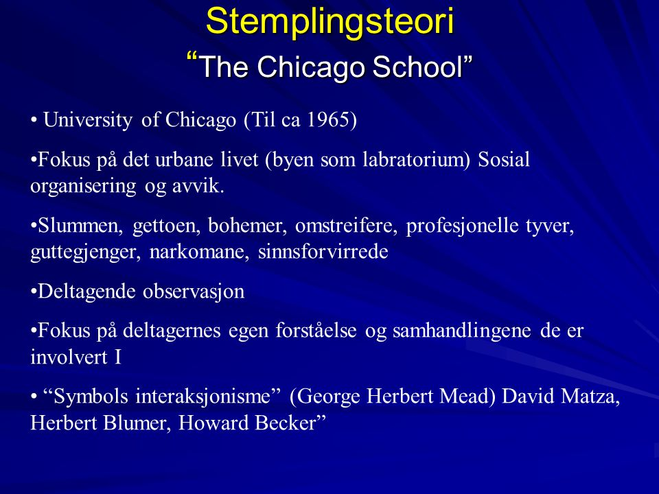 Stemplingsteori The Chicago School
