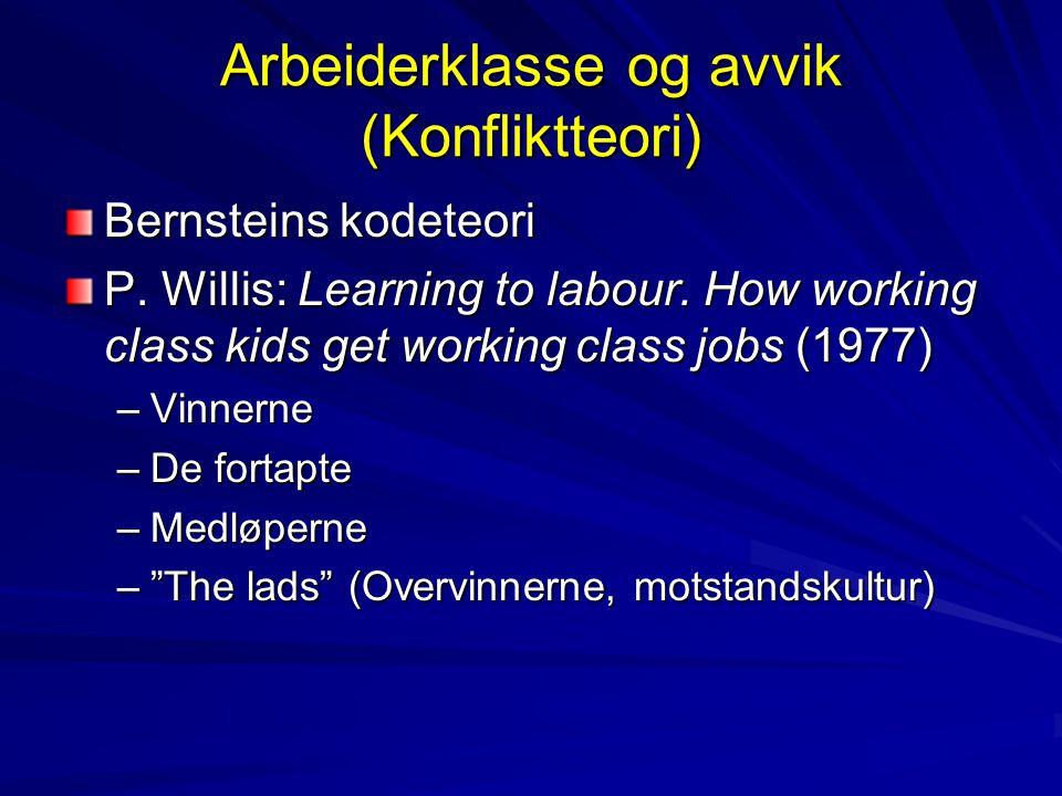 Arbeiderklasse og avvik (Konfliktteori)