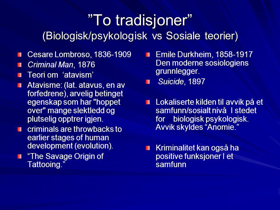 To tradisjoner (Biologisk/psykologisk vs Sosiale teorier)