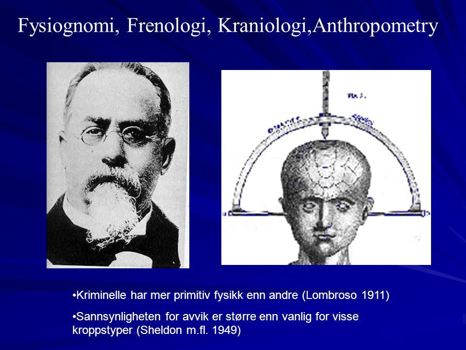 Fysiognomi, Frenologi, Kraniologi,Anthropometry
