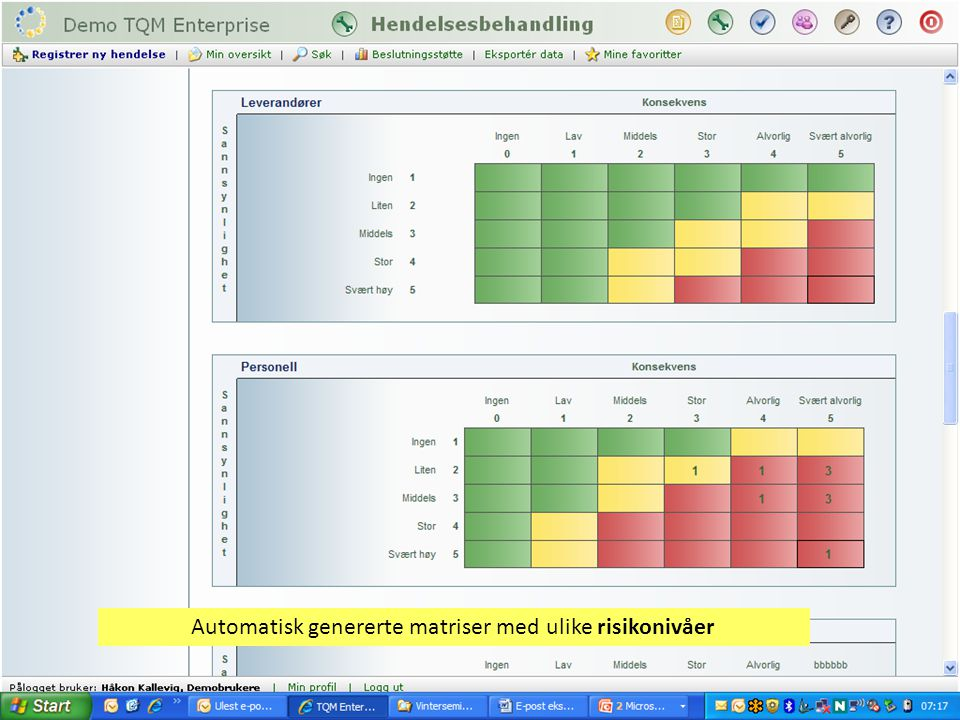 Automatisk genererte matriser med ulike risikonivåer