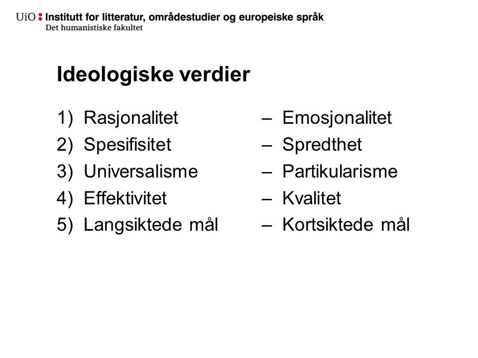 Ideologiske verdier Rasjonalitet Spesifisitet Universalisme