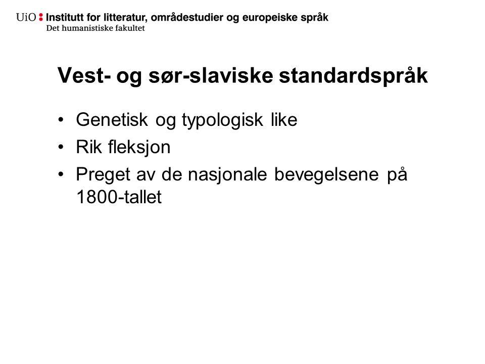 Vest- og sør-slaviske standardspråk