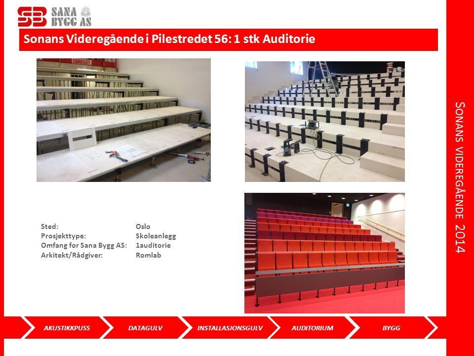 Sonans videregående 2014 Sonans Videregående i Pilestredet 56: 1 stk Auditorie. Sted: Oslo. Prosjekttype: Skoleanlegg.
