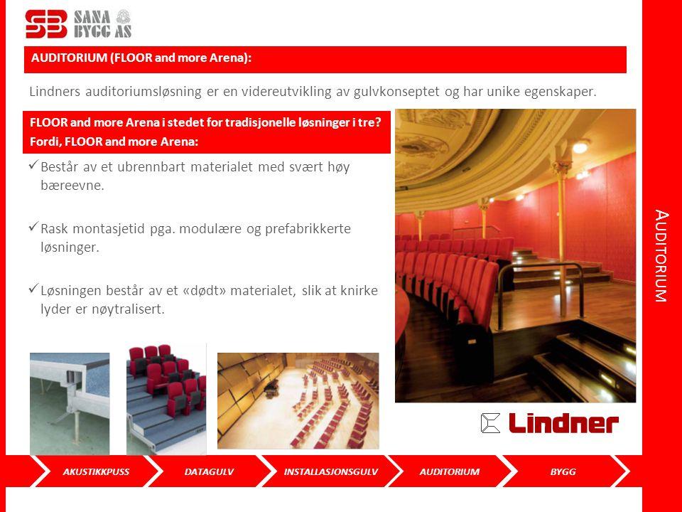 Auditorium AUDITORIUM (FLOOR and more Arena): Lindners auditoriumsløsning er en videreutvikling av gulvkonseptet og har unike egenskaper.