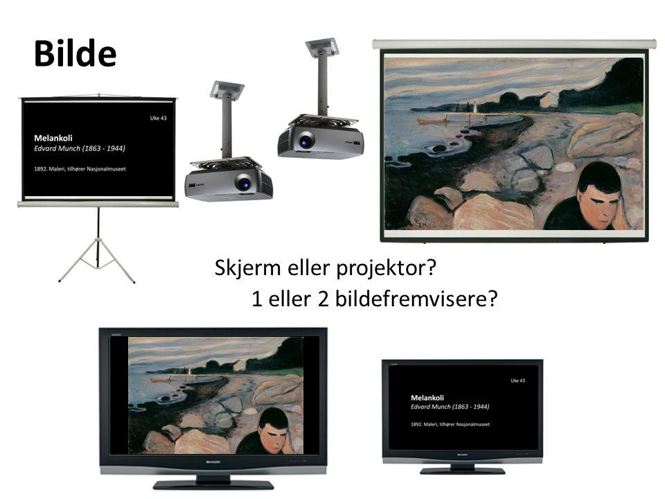 Bilde Skjerm eller projektor 1 eller 2 bildefremvisere