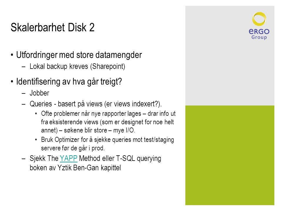 Skalerbarhet Disk 2 Utfordringer med store datamengder
