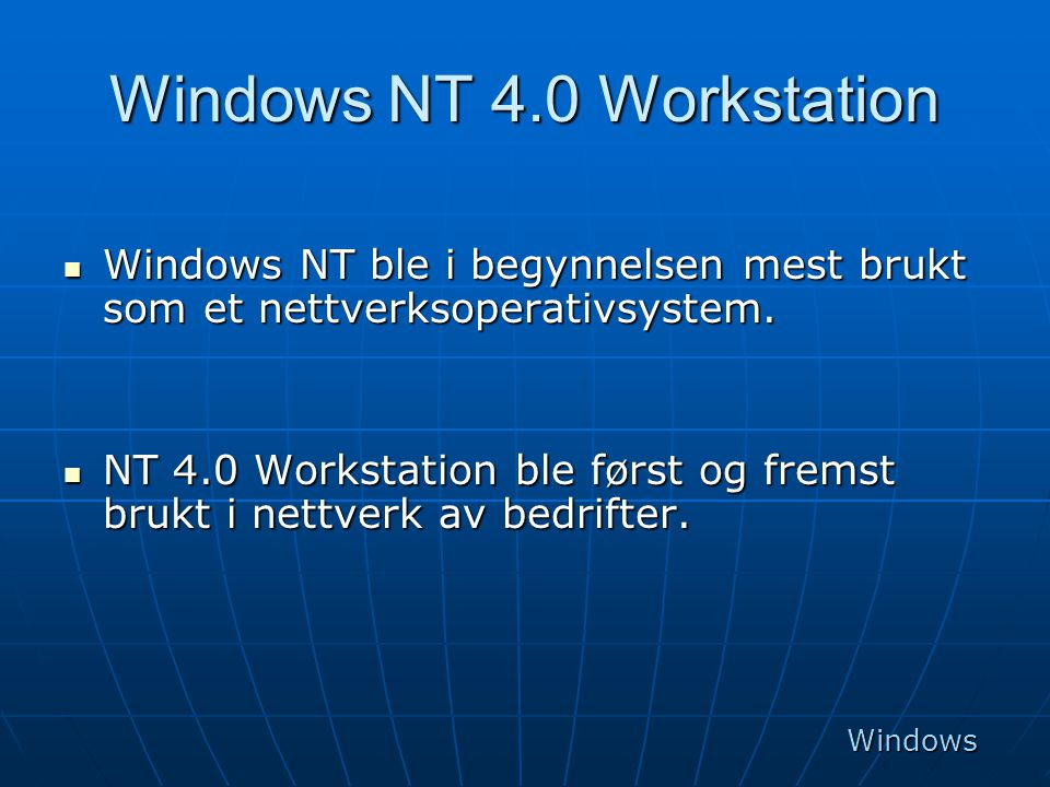 Windows NT 4.0 Workstation