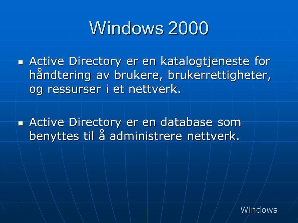 Windows 2000 Active Directory er en katalogtjeneste for håndtering av brukere, brukerrettigheter, og ressurser i et nettverk.