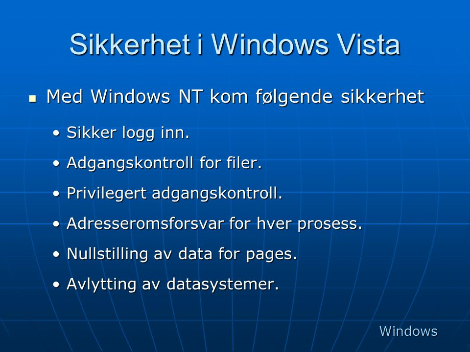 Sikkerhet i Windows Vista