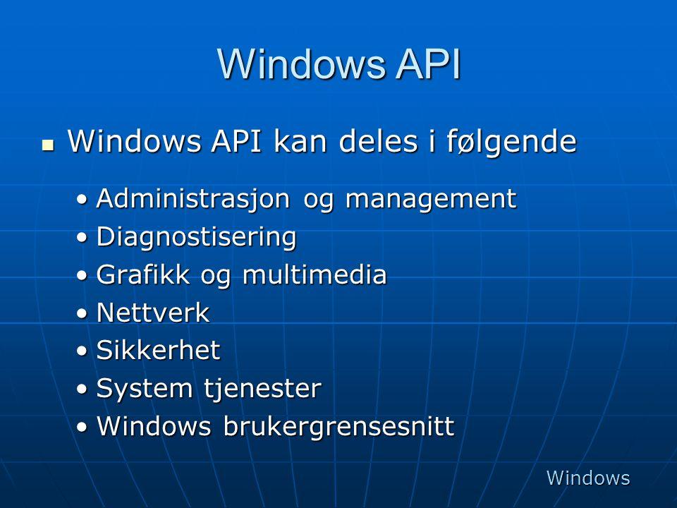 Windows API Windows API kan deles i følgende