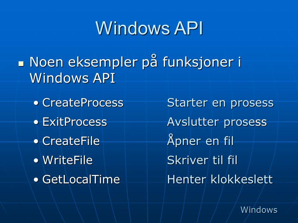 Windows API Noen eksempler på funksjoner i Windows API