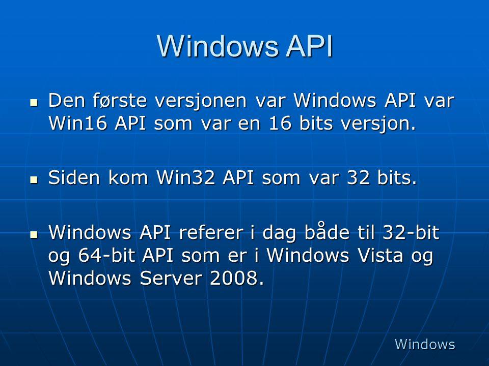 Windows API Den første versjonen var Windows API var Win16 API som var en 16 bits versjon. Siden kom Win32 API som var 32 bits.