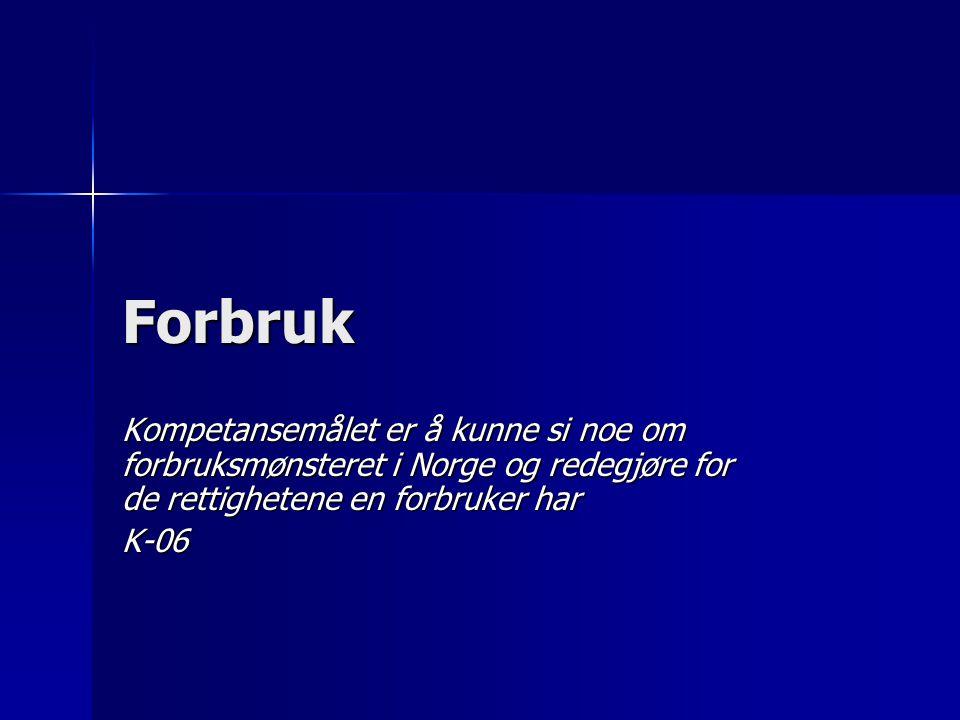 Forbruk Kompetansemålet er å kunne si noe om forbruksmønsteret i Norge og redegjøre for de rettighetene en forbruker har.