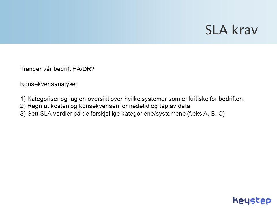SLA krav Trenger vår bedrift HA/DR Konsekvensanalyse:
