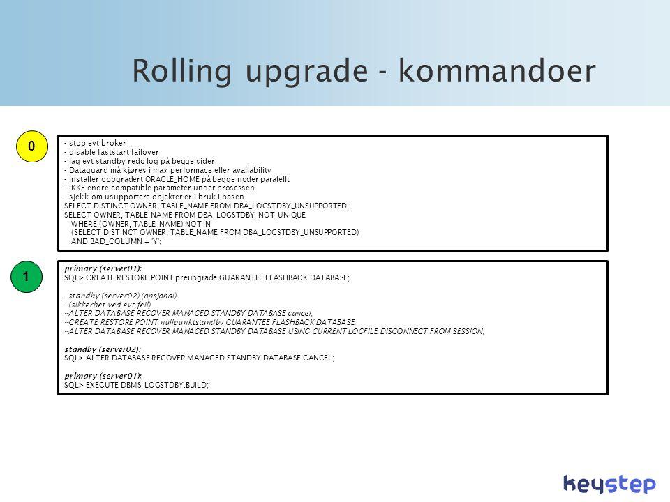 Rolling upgrade - kommandoer