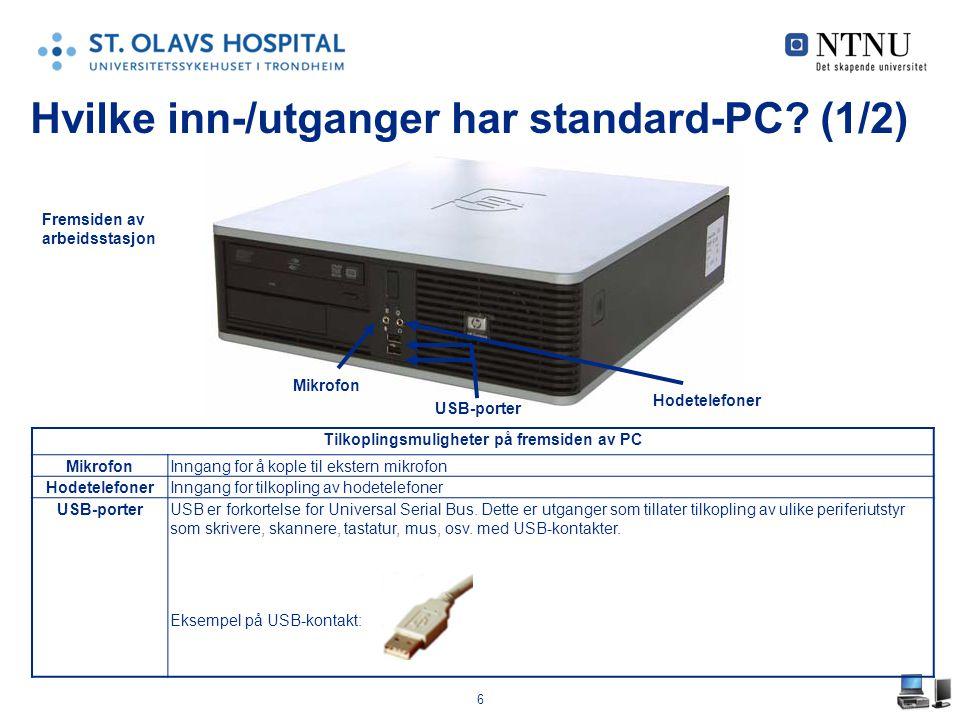 Hvilke inn-/utganger har standard-PC (1/2)