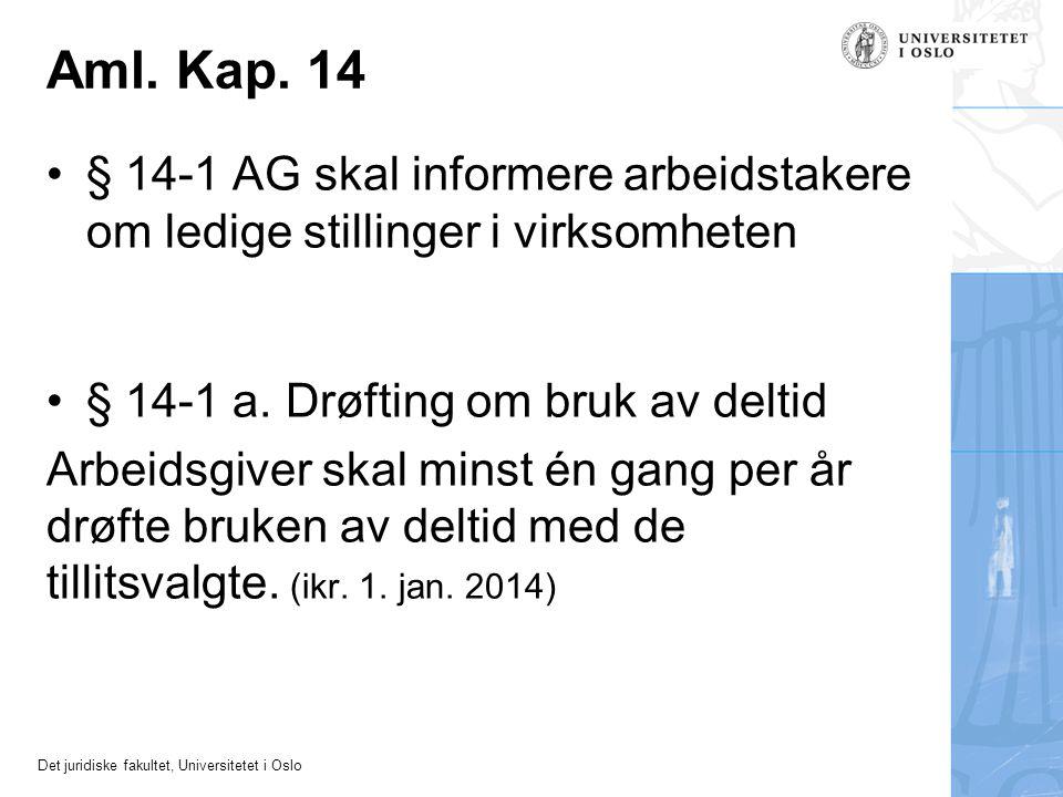 Aml. Kap. 14 § 14-1 AG skal informere arbeidstakere om ledige stillinger i virksomheten. § 14-1 a. Drøfting om bruk av deltid.
