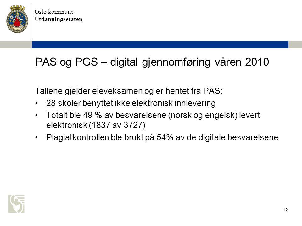 PAS og PGS – digital gjennomføring våren 2010