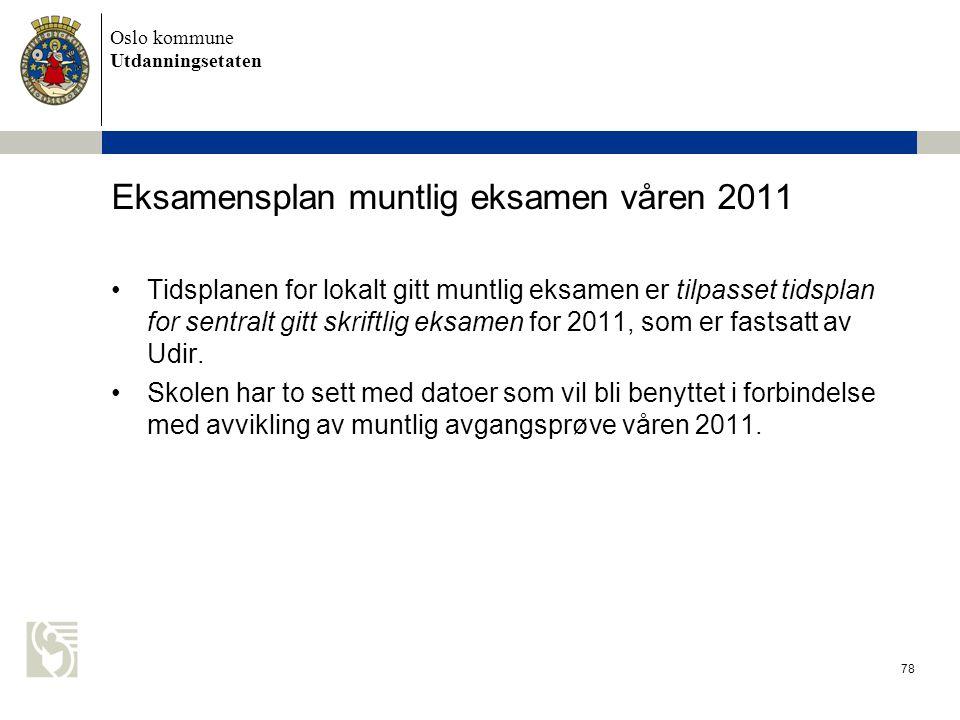 Eksamensplan muntlig eksamen våren 2011