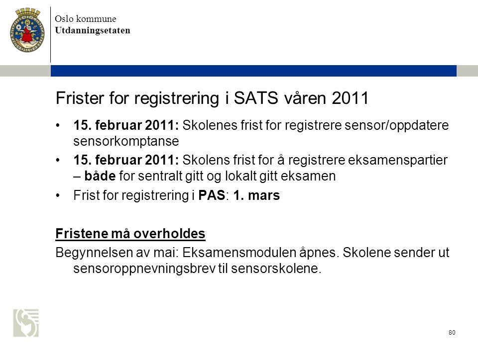 Frister for registrering i SATS våren 2011