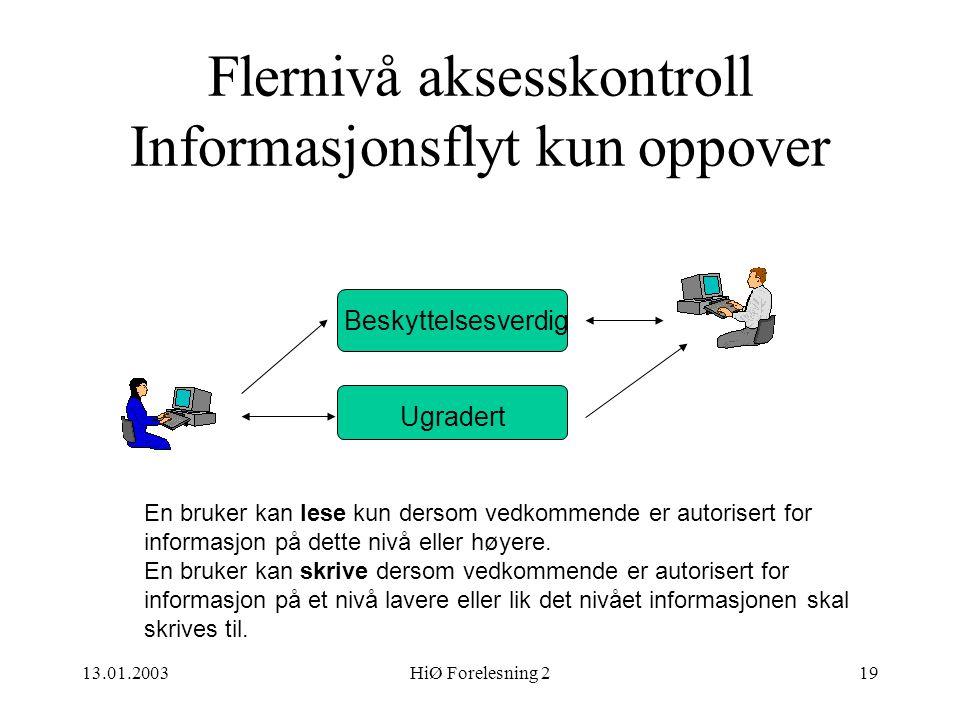 Flernivå aksesskontroll Informasjonsflyt kun oppover