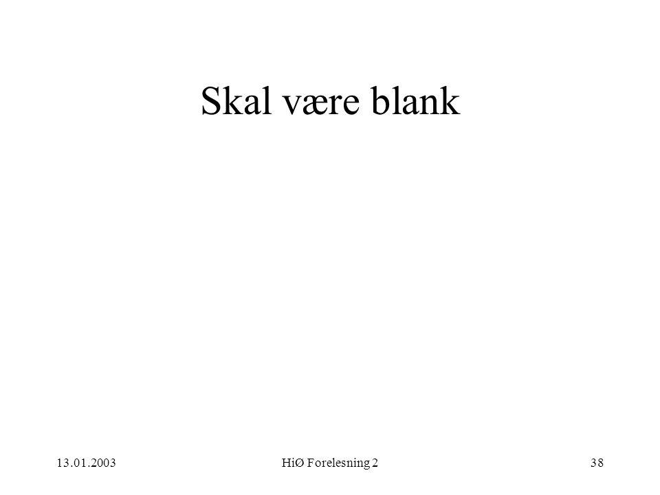 Skal være blank 13.01.2003 HiØ Forelesning 2 HiØ 13.01 2003