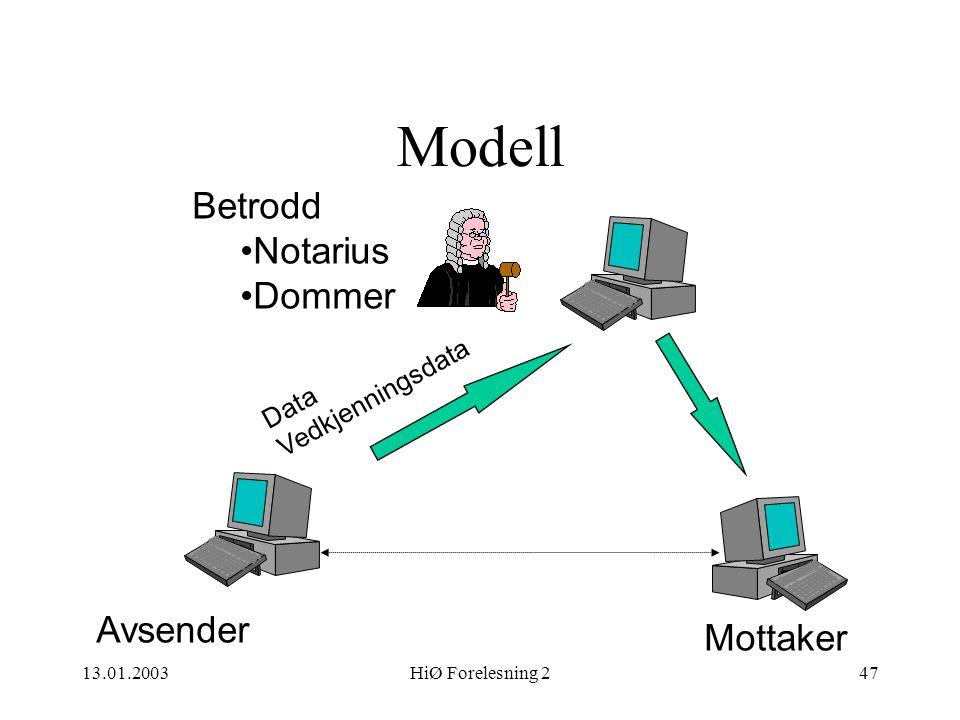 Modell Betrodd Notarius Dommer Avsender Mottaker Vedkjenningsdata Data