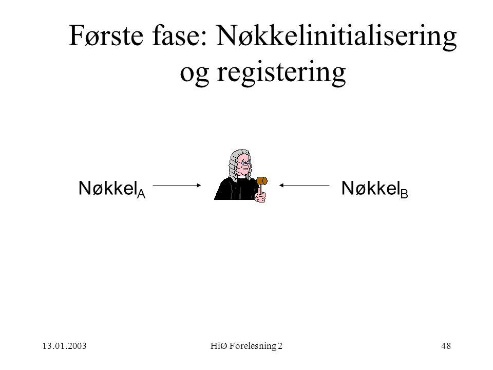 Første fase: Nøkkelinitialisering og registering