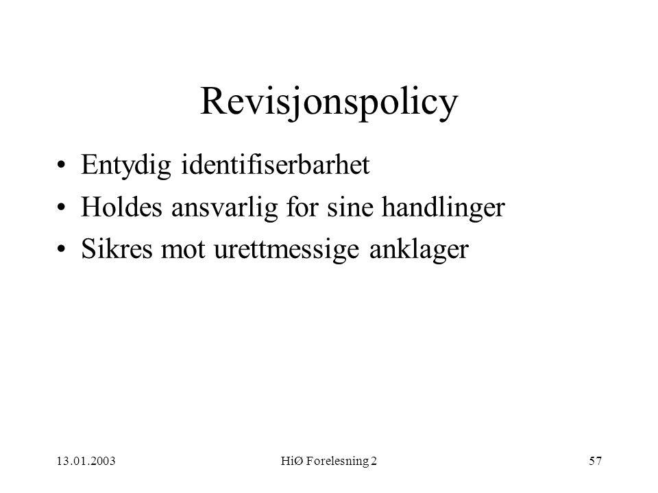 Revisjonspolicy Entydig identifiserbarhet